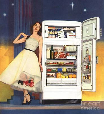 Drawing - Hotpoint 1951 1950s Usa Fridges by The Advertising Archives