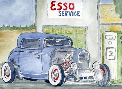 Art Print featuring the painting Hotrod II by Eva Ason