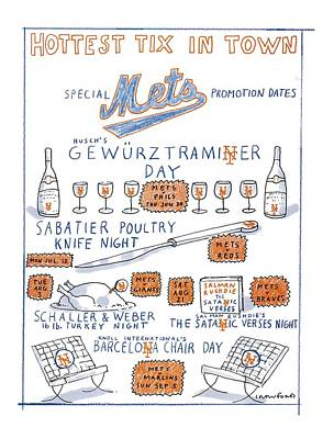 Mets Drawing - Hottest Tix In Town Special Mets Promotion Dates by Michael Crawford