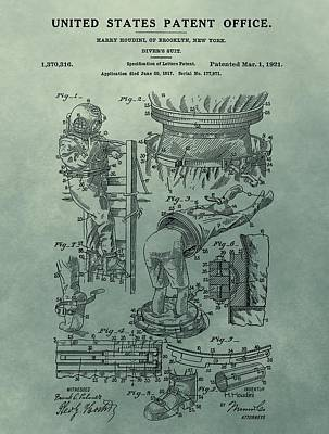Museum Mixed Media - Houdini's Diver's Suit Patent Illustration by Dan Sproul