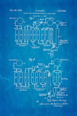 Houdry Catalytic Cracking Patent Art 1931 Blueprint Art Print by Ian Monk
