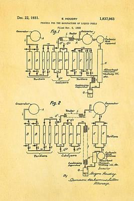 Houdry Catalytic Cracking Patent Art 1931 Art Print
