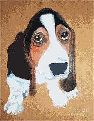 Puppy Mixed Media - Hound Dog by Rachel Barrett