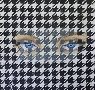 Mixed Media - Houndstooth Eyes by Kelly Mills