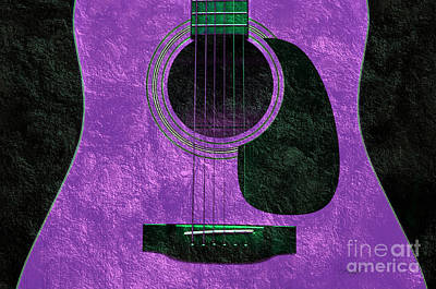 Photograph - Hour Glass Guitar Purple 1 T by Andee Design