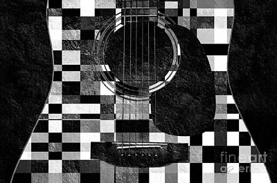 Mixed Media - Hour Glass Guitar Random Bw Squares by Andee Design