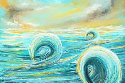 Surfing Art Painting - Hour Of Glow - Sunset On Water Painting by Lourry Legarde