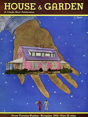 House & Garden Cover Illustration Of A Giant Hand Art Print by Georges Lepape
