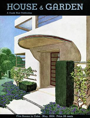 Photograph - House & Garden Cover Illustration Of A Modern by Pierre Brissaud