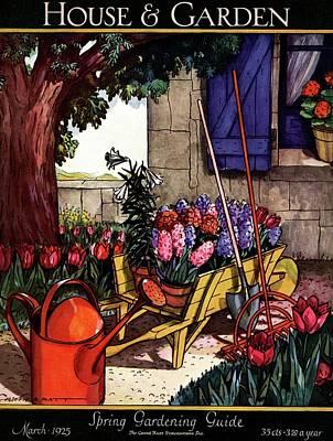 Garden House Photograph - House & Garden Cover Illustration Of Garden Scene by Joseph B. Platt