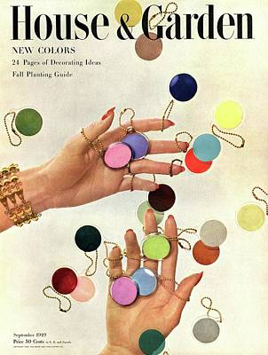 Nail Polish Photograph - House & Garden Cover Of Woman's Hands With An by Herbert Matter