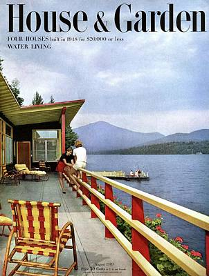 Deck Chair Photograph - House & Garden Cover Of Women Sitting On The Deck by Robert M. Damora