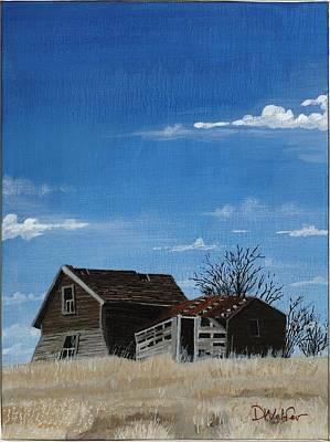 Farmer Painting - House And Barn Burleigh County North Dakota by David Wolfer