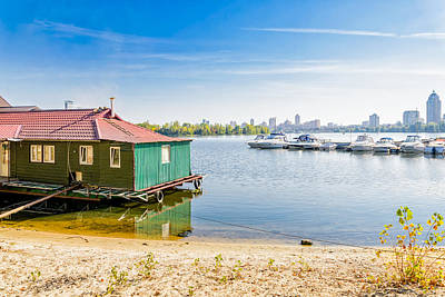 Dnieper Wall Art - Photograph - House And Boats On The River by Alain De Maximy