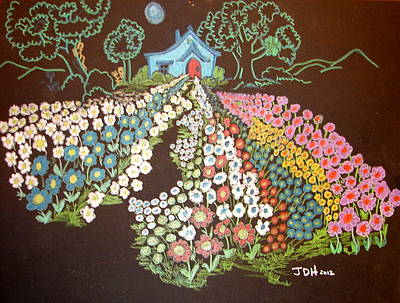 Storybook Drawing - House And Flowers by Joseph Hawkins