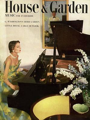 House And Garden Cover Featuring A Woman Playing Art Print by Horst P. Horst
