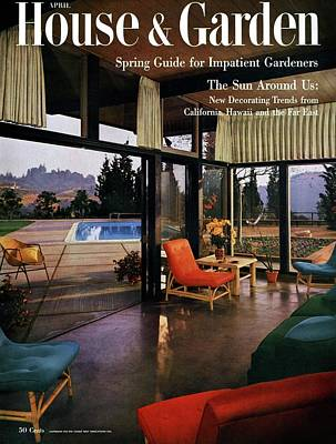 House And Garden Featuring A Living Room Art Print by Julius Shulman