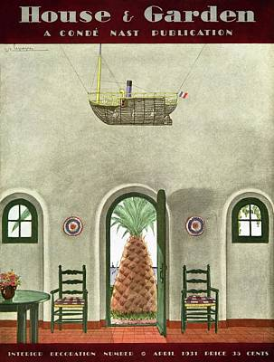 Miniature Watercolors Photograph - House And Garden Interior Decoration Number Cover by Georges Lepape