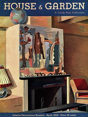 Room Photograph - House And Garden Interior Decoration Number Cover by Louis Bouche