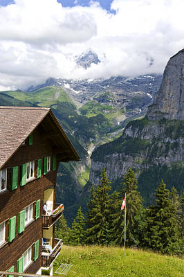 Photograph - House And Mountain In Gimmelwald Switzerland by Pam  Elliott