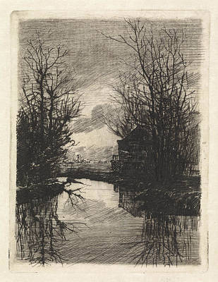 Stark Drawing - House And Trees Along The Water, Print Maker Elias Stark by Elias Stark