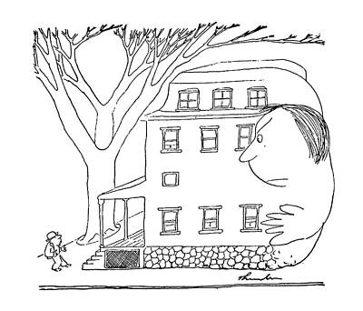 Giant Drawing - House And Woman by James Thurber