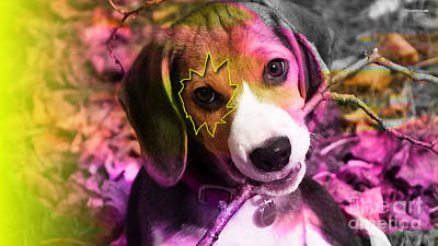 Dog Mixed Media - House Broken Beagle Puppy by Marvin Blaine