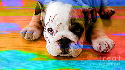 Mixed Media - House Broken Bulldog Puppy by Marvin Blaine