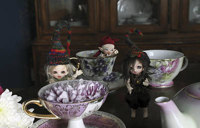 House Brownie Tea Party 2 Art Print by Laurie Martin