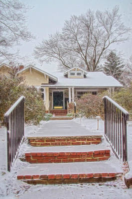 Photograph - House During Winter Snowfall At Sayen Gardens by Beth Sawickie