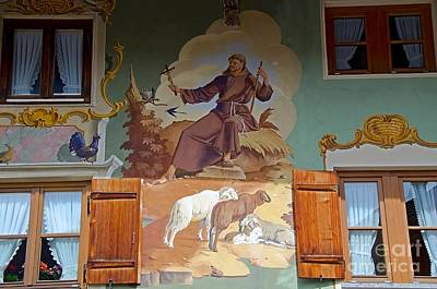 House Facade Painted With The Typical Luftmalerei In Bavaria Original by Elzbieta Fazel