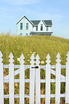 Photograph - House In A Field Behind A Picket Gate by Jill Battaglia