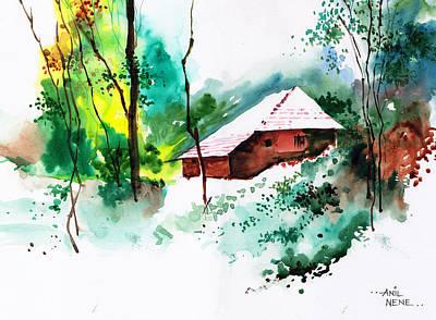 Rain Drawing - House In Greens 1 by Anil Nene