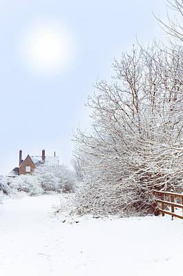 House In Snow Art Print by Amanda Elwell