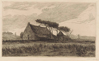 Storm Drawing - House In The Dunes At Katwijk, The Netherlands by Carel Nicolaas Storm Van 's-gravesande