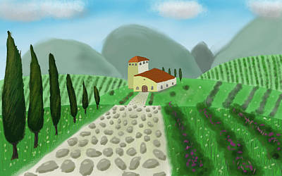 House In The Hills Art Print by Step Sark