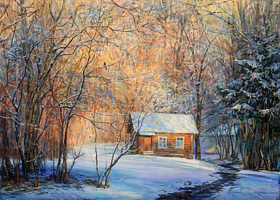 Painting - House In The Winter Forest  by Galina Gladkaya
