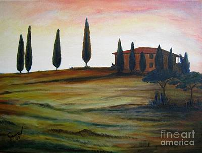 Tuscan Dusk Painting - House In Tuscany by Christine Huwer