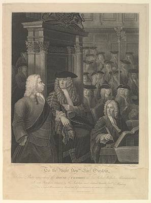 Stipple Drawing - House Of Commons - Sir Robert Walpoles by After William Hogarth