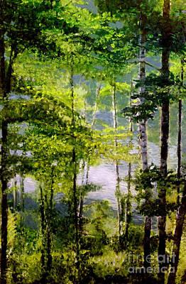 Wisconsin Birch Trees On Lake  Art Print