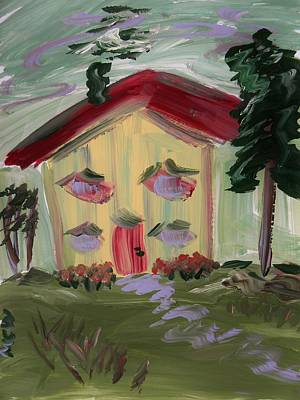 Red Roof Drawing - House Of Hugs 2 by Mary Carol Williams
