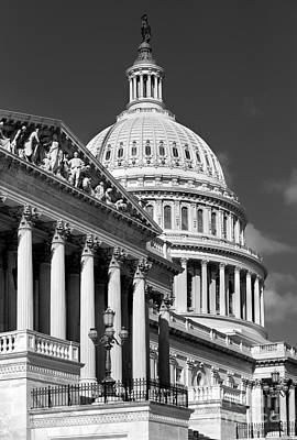 House Of Representatives And The Capitol Black And White Art Print by Jerry Fornarotto