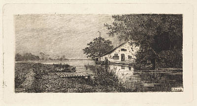 Work On Paper Drawing - House On A River Abcoude The Netherlands by Quint Lox