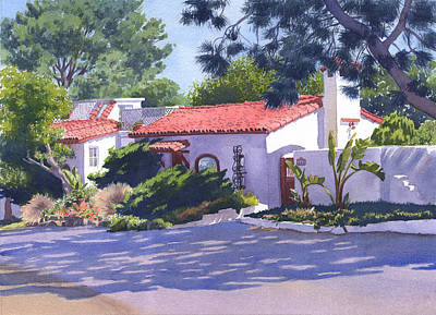 Portaits Painting - House On Crest Del Mar by Mary Helmreich