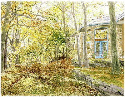 Painting - House On Grandmother Mountain - Golden Moments  by Joel Deutsch