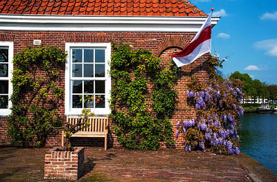 Red Roof Photograph - House On The Canal Shore. Brielle. Netherlands by Jenny Rainbow