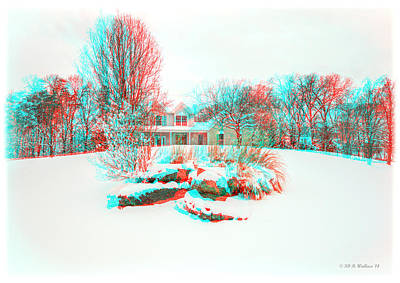 House On The Hill - Use Red/cyan Filtered 3d Glasses Art Print by Brian Wallace