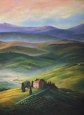 Tuscany Vineyard Oil Painting - House On The Hill by Julia Doffing