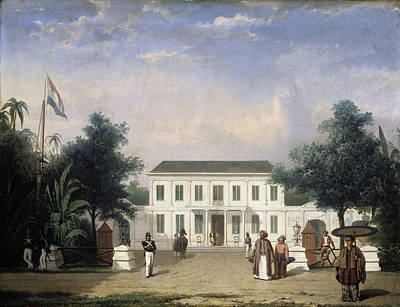 Veteran Drawing - House On The Rijswijk, Batavia, Jalan Veteran Jakarta by Litz Collection