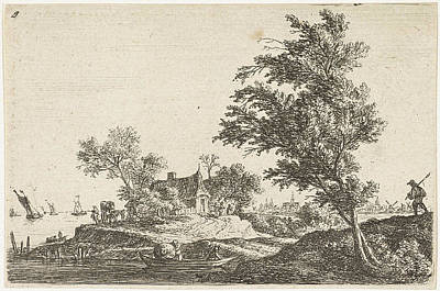 Waterscape Drawing - House On The Waterfront, Print Maker Anthonie Waterloo by Anthonie Waterloo And Basan Et Poignant And Pierre Fran?ois Basan